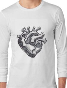 Human heart ink drawing Long Sleeve T-Shirt