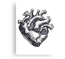 Human heart ink drawing Canvas Print