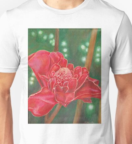 Red Torch Ginger Flower in Hawaii Unisex T-Shirt