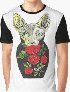 Rose, tattoo style russian doll cat Graphic T-Shirt