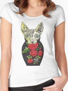 Rose, tattoo style russian doll cat Women's Fitted Scoop T-Shirt