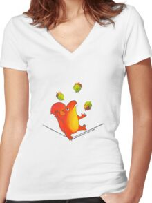 Sally Squirrel Women's Fitted V-Neck T-Shirt