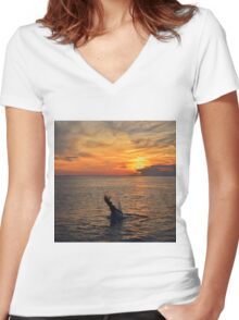 Mermaid Sunset  Women's Fitted V-Neck T-Shirt