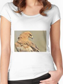 Tawny Eagle - Majestic - African Wild Bird Background Women's Fitted Scoop T-Shirt