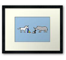 Unicorns Vomit Rainbows, Rhinos Vomit Greyscale Framed Print
