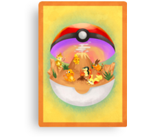 Pokemon: Fire Starters Home Canvas Print