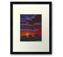 Sunset over Beach Houses Framed Print