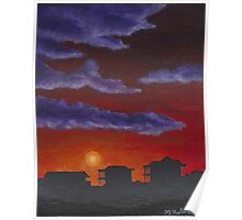 Sunset over Beach Houses Poster