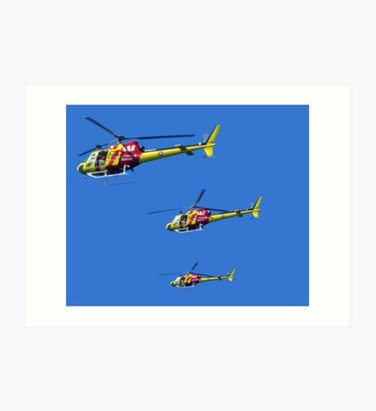 Helicopter Trio Art Print