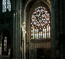North Transept Rose Window Cathedral Sens France 198405050103  by Fred Mitchell