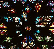 Centre of North Transept Rose Window Cathedral Sens France 198405050105 by Fred Mitchell
