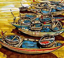 Vietnamise boats by Irina Fominykh