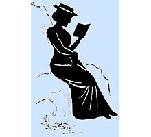 Late Victorian - era silhouette of a lady reading Photographic Print