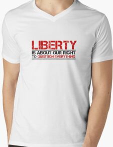 Liberty Freedom Political Quote Mens V-Neck T-Shirt