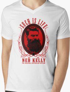Ned Kelly - Original Outlaw Design in red Mens V-Neck T-Shirt