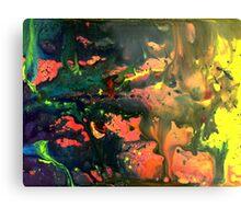 Orange Green Liquid Abstract Painting Metal Print