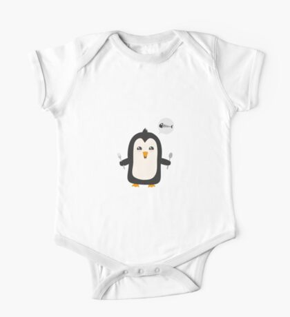 Penguin with fish   One Piece - Short Sleeve
