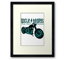 Bobber Motorcycle 'Fuel your Passion' in teal Framed Print