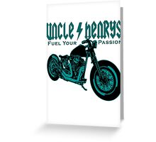 Bobber Motorcycle 'Fuel your Passion' in teal Greeting Card