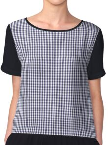 USA Flag Blue and White Gingham Checked Chiffon Top