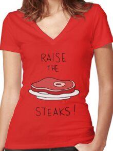 Raise the Steaks! Women's Fitted V-Neck T-Shirt
