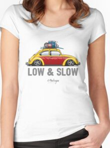 VW Beetle Low & Slow (yellow) Women's Fitted Scoop T-Shirt