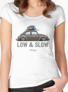 VW Beetle Low & Slow (brown) Women's Fitted Scoop T-Shirt
