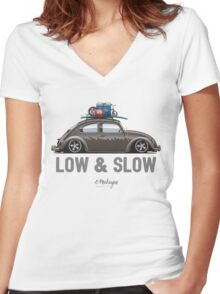 VW Beetle Low & Slow (brown) Women's Fitted V-Neck T-Shirt