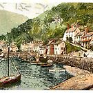 A digital painting of  Lynmouth Harbor, Lynton and Lynmouth, England. by Dennis Melling