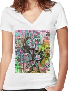 Tokyo Skull Candy By INDO The Artist Women's Fitted V-Neck T-Shirt