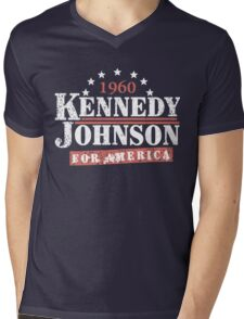 Vintage Kennedy Johnson 1960 Presidential Campaign Mens V-Neck T-Shirt