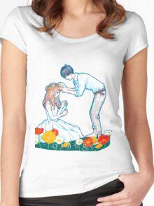 Orange Anime Naho Kakeru Love Women's Fitted Scoop T-Shirt