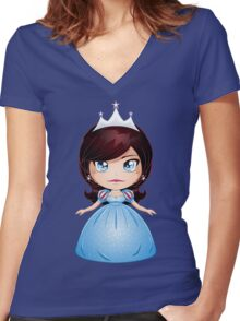 Princess With Black Hair In Blue Dress Women's Fitted V-Neck T-Shirt