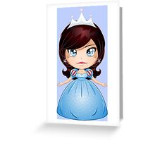 Princess With Black Hair In Blue Dress Greeting Card
