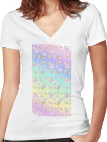 Pika sundae and Clefairy Ice Cream Cone  Women's Fitted V-Neck T-Shirt