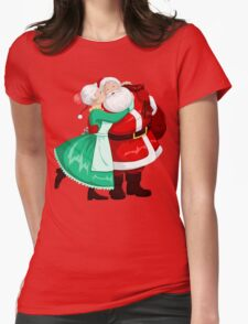 Mrs Claus Kisses Santa On Cheek And Hugs Womens Fitted T-Shirt