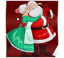 Mrs Claus Kisses Santa On Cheek And Hugs Poster