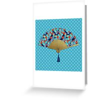 Deco Fan, Cobalt Blue, Turquoise and Red Greeting Card