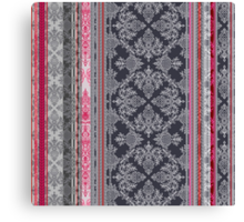 Burgundy, Pink, Navy & Grey Vintage Bohemian Wallpaper Canvas Print