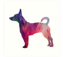 Rat Terrier Dog Colorful Geometric Pattern Silhouette - Pink Art Print