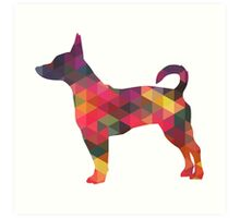 Rat Terrier Dog Colorful Geometric Pattern Silhouette - Multi Art Print