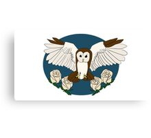 Owl and roses Canvas Print
