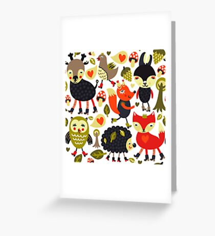 Woodland animals and birds Greeting Card