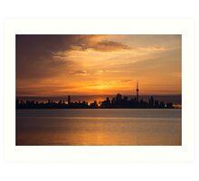 First Sun Rays - Toronto Skyline at Sunrise Art Print