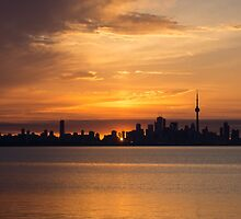First Sun Rays - Toronto Skyline at Sunrise by Georgia Mizuleva