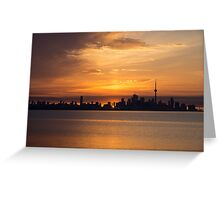 First Sun Rays - Toronto Skyline at Sunrise Greeting Card