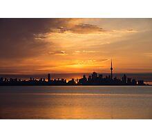 First Sun Rays - Toronto Skyline at Sunrise Photographic Print