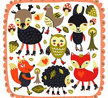 Woodland animals and birds by juliakuy