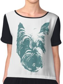 Westie Wonder Graphic ~ Teal Chiffon Top