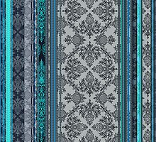 Teal, Aqua & Grey Vintage Bohemian Wallpaper by micklyn